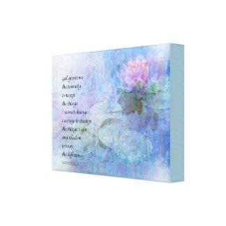 Serenity Prayer Water Lily Wonders Canvas Print