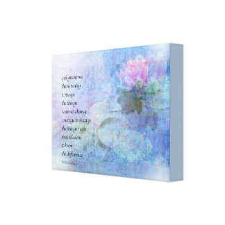 Serenity Prayer Water Lily Wonders Canvas Print
