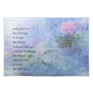 Serenity Prayer Water Lily Wonders Placemat