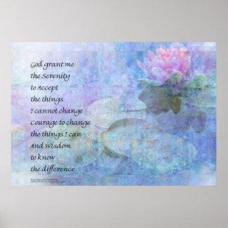 Serenity Prayer Water Lily Wonders Poster
