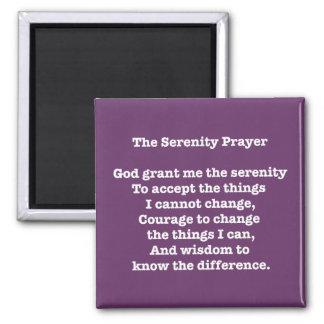 Serenity Prayer White on Purple Magnet