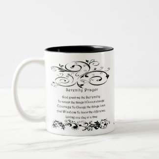 Serenity Prayer White Two-Tone Coffee Mug