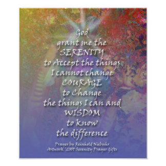Serenity Prayer Wild Iris Colorful Poster