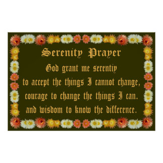 Serenity Prayer with Barrel Cactus Frame Posters
