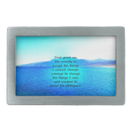 Serenity Prayer With Blue Ocean and Amazing Sky Belt Buckle