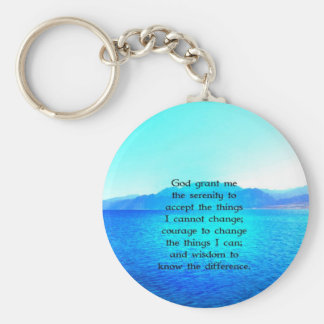 Serenity Prayer With Blue Ocean and Amazing Sky Key Ring