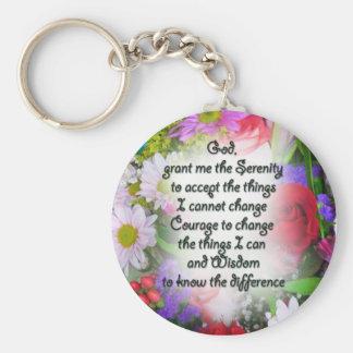 Serenity Prayer with Flowers Key Ring