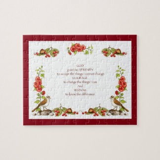 Serenity Prayer With Hand Drawn Nature Border Jigsaw Puzzle