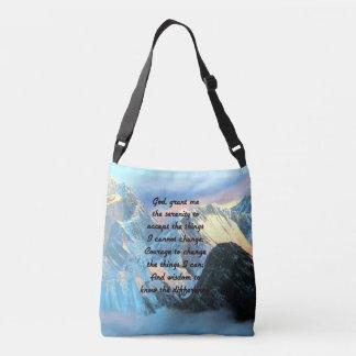 Serenity Prayer With Panoramic View Mount Everest Crossbody Bag