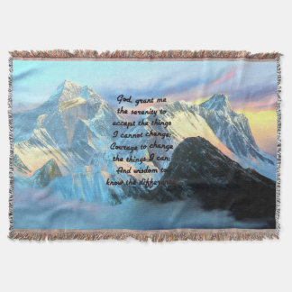 Serenity Prayer With Panoramic View Mount Everest Throw Blanket