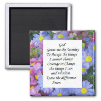 serenity prayer with pink and blue flowers magnet