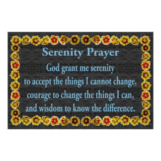 Serenity Prayer with Prickly Pear Cactus Frame Posters