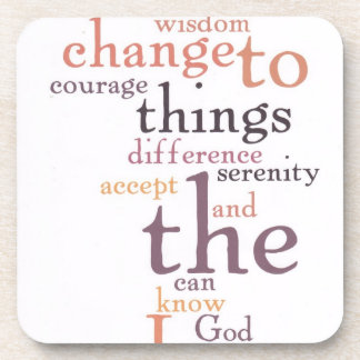 Serenity Prayer Word Art Beverage Coasters
