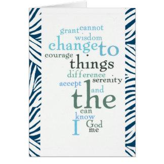 Serenity Prayer Word Art Zebra Print Greeting Card