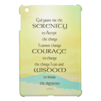 Serenity Prayer Yellow Sky Blue Mountain iPad Mini Covers