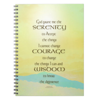 Serenity Prayer Yellow Sky Blue Mountain Notebook