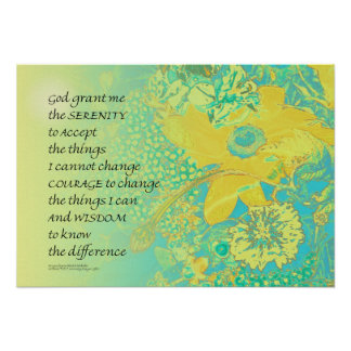 Serenity Prayer Yellow Turquoise Bouquet Poster