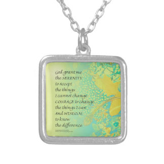 Serenity Prayer Yellow Turquoise Bouquet Silver Plated Necklace