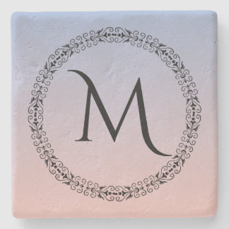 Serenity Rose Quartz Blue Pink Ombre Monogram Stone Coaster