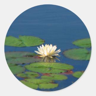 Serenity Water Lily Round Sticker