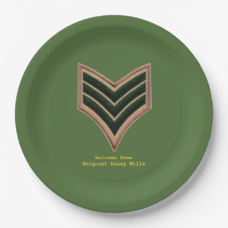 Sergeant Welcome home plate 9 Inch Paper Plate