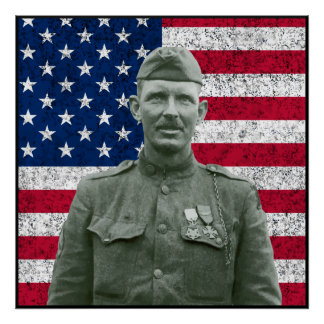 Sergeant York and The American Flag -- Border Poster