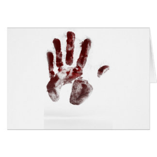 Serial killer blood handprint card
