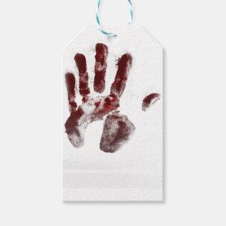 Serial killer blood handprint gift tags