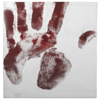 Serial killer blood handprint napkin