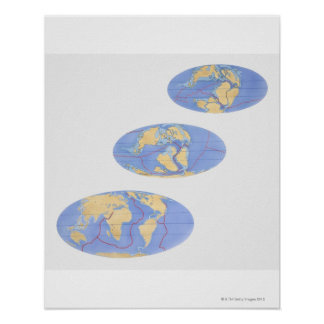 Series of illustrations of Earth 200 million Poster