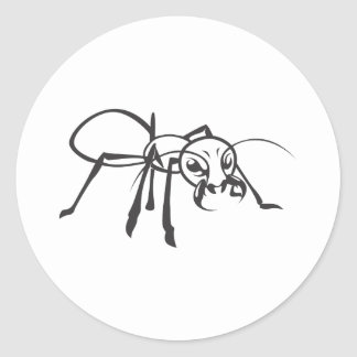 Serious Ant in Black & White Classic Round Sticker