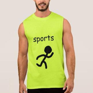 serious because of sports sleeveless shirt