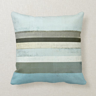 'Serious' Blue and Grey Abstract Art Pillow Throw Cushion