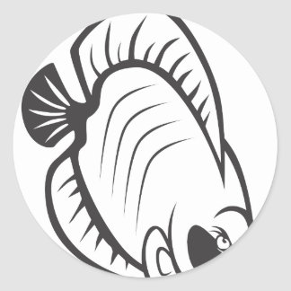 Serious Butterfly Fish in Black and White Sticker