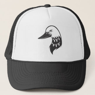 Serious Common Loon Bird in Black and White Trucker Hat