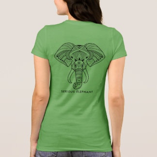 Serious Elephant Green - Two Sided Print T-Shirt