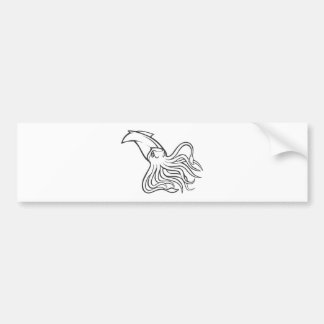 Serious Giant Squid in Black and White Bumper Sticker