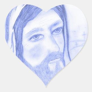 Serious Jesus Heart Sticker