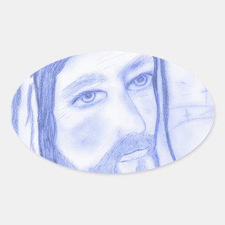 Serious Jesus Oval Sticker