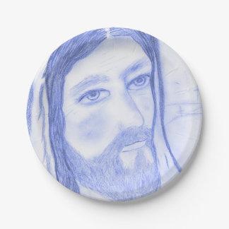 Serious Jesus Paper Plate
