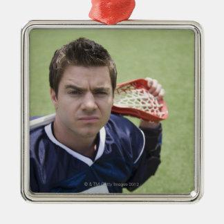 Serious lacrosse player metal ornament