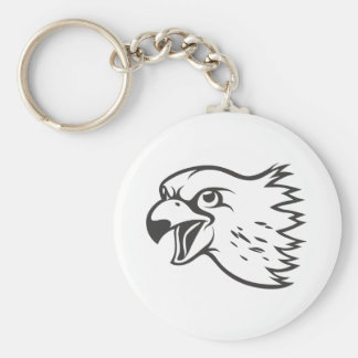 Serious Peregrine Falcon Bird in Black Keychain