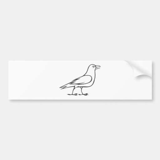 Serious Raven Bird in Black and White Bumper Stickers