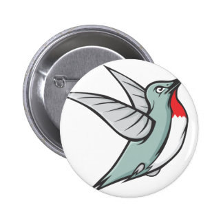 Serious Ruby Throated Hummingbird Button