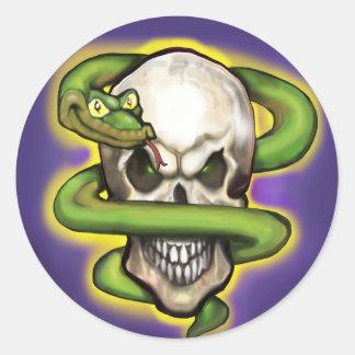 Serpent Evil Skull Round Stickers