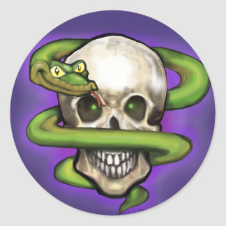 Serpent n Skull Round Sticker