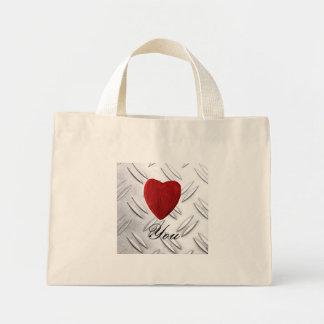 Serrated sheet background Love you Mini Tote Bag