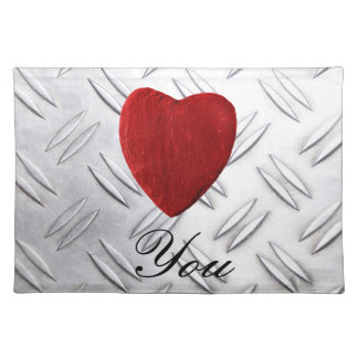 Serrated sheet background Love you Placemat