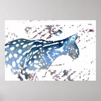 serval cat african feline watercolor blue poster