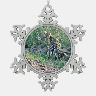 Serval Cat Snowflake Pewter Christmas Ornament